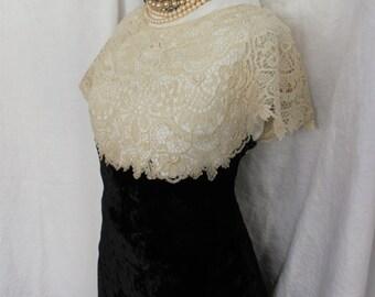 1930s Silk Velvet and Lace Bias Cut Long Dress Gown