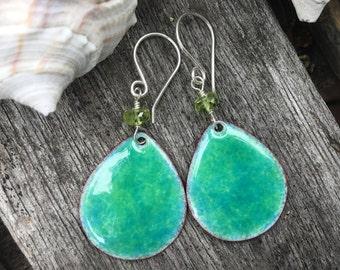 Hand Made Enamel Earrings, Ocean Earrings