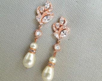 Rose gold Pearl Rhinestone Earrings Wedding Pearl Earrings Swarovski Crystal Pearl Bridal Earrings Bridal Stud Earrings Pearl Earrings JAY