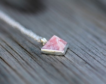 Pink Rhodochrosite Pyramid Choker Necklace - Sterling Silver