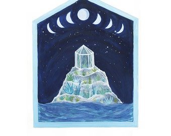 Fine Art Print-Blue Moon Phases and the Botanical Island