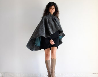Women cape, gift idea for her, wool cape, wool cloak, women outerwear, elegant cape, women clothing, poncho, winter clothes, handmade gift,