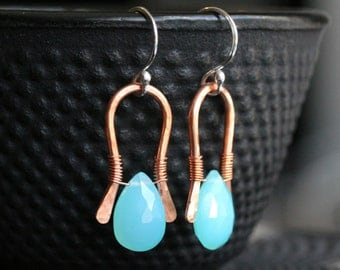 Aqua blue chalcedony drop earrings, copper, sterling silver, wire wrapped, briolette, simple, rustic, dangle, Mimi Michele Jewelry