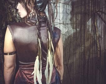 Metallic Snakeskin Dread Hair Wrap with Feathers