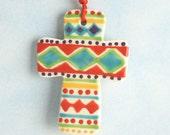 Small Clay Cross, Handmade Ceramic Cross, First Communion Cross, Confirmation Cross, Christian Ornament, Baptism Cross, Christening Favors