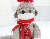 Personalized Kids Toy Sock Monkey Doll, Made When Ordered