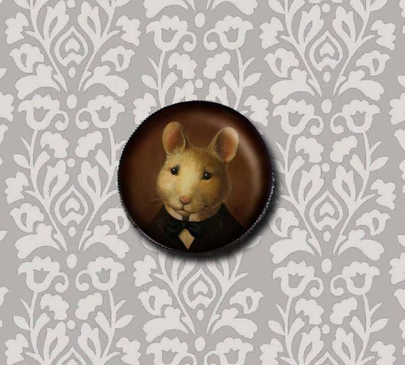 Mouse Portrait Brooch Pin - Round - Victorian Animal Brooch
