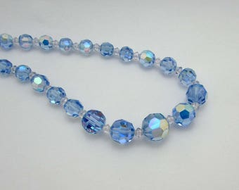"""Light blue AB crystal faceted necklace - 21"""" - 1950s"""