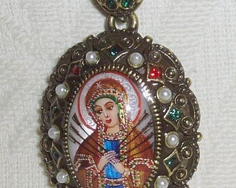 Russian pendant Mother of pearl Icon Holy Virgin Mary Seven arrows Hand Painted