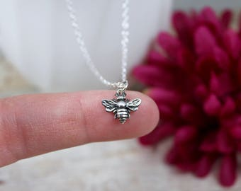 Bee Necklace - Bumble bee Necklace in Sterling Sterling