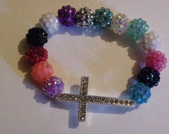 Silver Cross Berry Bead Beaded Bracelet  438