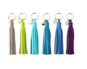 "4"" Leather Tassel Key Chain   Purse Charm   Key Purse   Handbag Tassel   Tassle Keychain   Colorful   Bridesmaid Gift   Upcycled   Fringe"