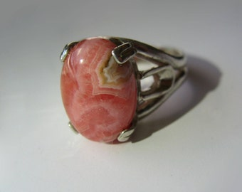 Strawberry Cheesecake -  Pink Layered Rhodochrosite In Sterling Silver Cocktail Ring 7.65ct, Size 7.75