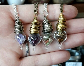 Crystal vial pendant choose your stones witchcraft jewelry wiccan crystals glass tear drop pendant choose your stones witchcraft jewelry necklace pagan gemstones aloadofball Image collections