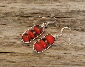 Coral Orange & Smokey Quartz / Czech Glass Earrings / Boho Earrings / Silver Earrings / Wire Wrapped / Dangle Earrings
