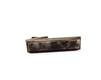 Green Serpentine Gemstone Vintage Tie Clip Gold Tone Mid Century Mens Formal Marbled Swirled