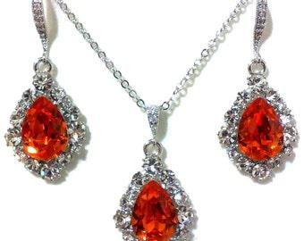 Tangerine Bridal Jewelry Set, Orange Dangle Earrings, Teardrop Necklace, Swarovski Crystal Bridesmaid Jewelry, Birthday Gift for Her, BIJOUX