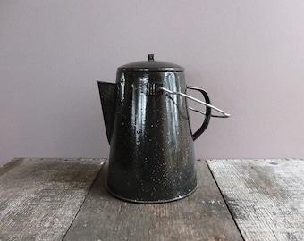 Vintage Black Speckled Enamel Coffee Pot / Enamel Camping Coffee Pot / Enamel Speckleware Camp Coffee Pot