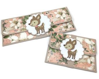Gift card holder, money card, cash envelopes, gift card envelopes, money holder, baby shower gift, birthday money card, deer birthday,