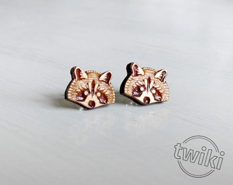 Raccoon wood earring studs. Sterling silver or stainless steel posts. Wood raccoon earrings, raccoon studs, raccoon jewelry, animal lover