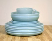 Vintage Jadeite Fire King Blue Round Dinnerware Dishes: Complete Set of Two with Extra Turquoise Blue Plates Coffee Cup Mug Not Azurite