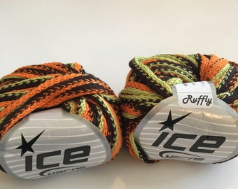 Ice Yarn 2 SKEINS striped Frilly Ruffle Scarf yarn for Knitting Orange Green Brown Halloween