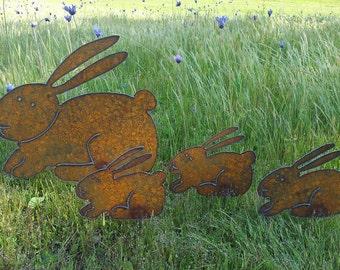 Bunny Garden Rusty Metal Art Easter Spring Bunny Family Plasma Cut By Hand