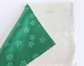 Belle Sharmeer Hosiery Bag Folder Emerald Green with Leaves Satin Folding Travel Envelope Storage Pockets