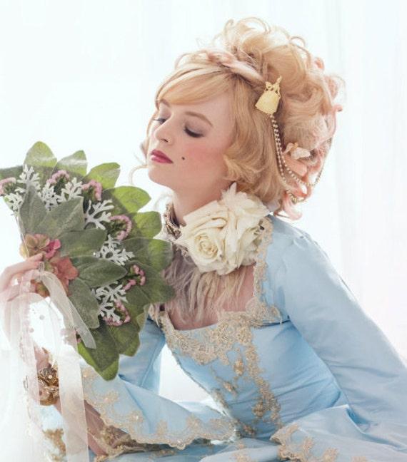 SALE Bridal Headpiece, Hair Comb, Bridal Hair Chain, Rococo Head Chain, Gold Pearl Chain, Gold Draped Hair Comb, Marie Antoinette ANTOINETTE