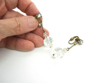 Glass Bead Earrings. Faceted Aurora Borealis AB Dangles. Crystal Prism Balls. Clip Ons. Fine Chain. Vintage 1950s Jewelry