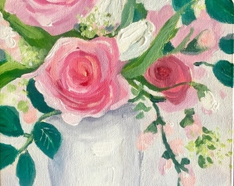Original still life painting: Rose painting, pink and White Rose Bouquet Vase, floral painting, fine art , canvas