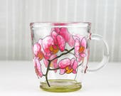 Hand Painted Glass Mug, Pink Orchid Design, Glass Coffee Mug, Glass Tea Mug, Painted Glass Mug, Botanical Mug, Orchid Tea Cup