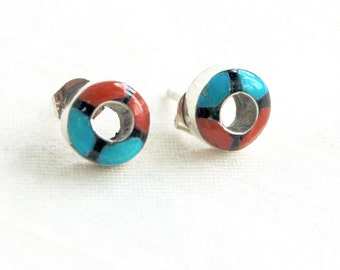 Zuni Earrings Inlaid Turquoise Red Coral Onyx Round Posts Geometric Studs Vintage Native American