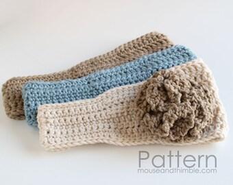 Flower Headband Ruffled Rose Crochet PATTERN (child, teen, adult) - Printable Download PDF 2353