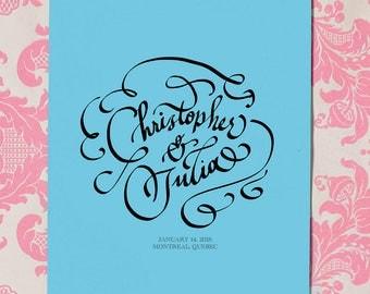 Hand Calligraphy Wedding Invitation feature - Bride & Groom Names - Hand Lettering - Custom