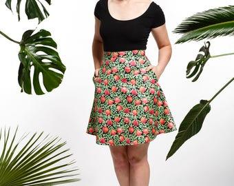 Handmade pomegranate skirt, fruity skirt, summer skirt