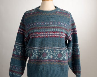Scottish Fair Isle Wool Sweater. Size Medium. Laura Ashley.