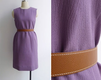 Vintage 60's Faux Bois Woodgrain Textured Purple Shift Dress M