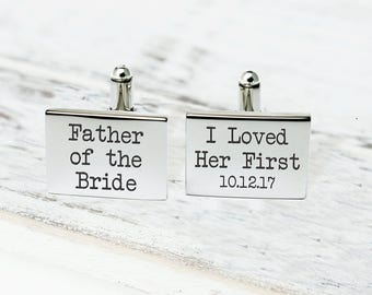 Cuff Links, Father of the Bride Cufflinks, Custom Cuff Links, Stainless steel Cuff links, Father Daughter gift, Cuff Links Personalized