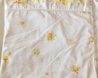 Vintage 1960s 70s JC Penney Double Full Flat Sheet Yellow Roses