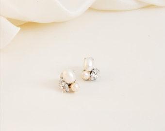 Crystal and pearl cluster earrings, wedding post earrings and pink pearls, wedding jewelry, bride accessories, alternative earrings - #714