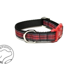 """NEW - Pride of Wales Tartan Dog Collar - 3/4"""" (19mm) Wide - Black and Red Plaid - Martingale or Side Release - Choice of style and size"""