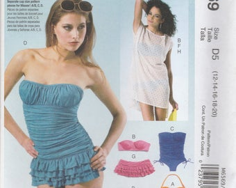 Swimsuit & Cover-Up Pattern McCalls 6569 Sizes 12-20 Uncut