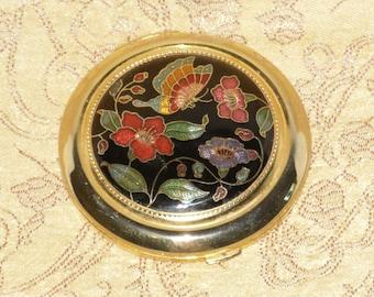 Cloisonne Powder Mirror Compact Enamel Black Flower Butterfly Gold Tone Brass Floral Vintage