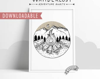 printable digital wall art wanderlust set adventure awaits fire camp forrest 8x11 in 11x16 in interior wall frame room decoration