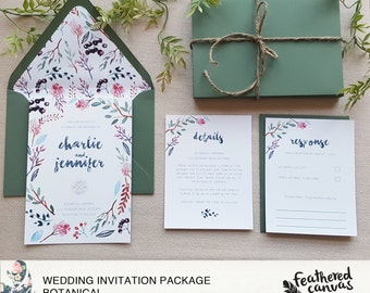 Watercolor Wedding Invitation Suite (Invite, RSVP & Detail Card)