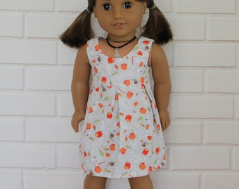 Grey Gray Orange Sleeveless Summer Dress Doll Clothes to fit 18 inch dolls to 20 inch dolls such as American Girl & Australian Girl dolls