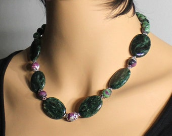 Ruby in Zoisite Necklace, Sterling Silver, green-pink gemstone, artisan statement necklace, original, bold, chunky, gift for her, NL3105