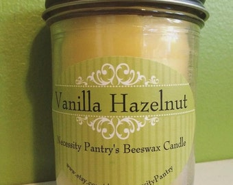 Beeswax Candle in Glass Jar - Vanilla Hazelnut - 8 oz. Organic Beeswax from Local Supplier