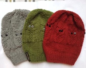 Pure Cashmere  Handknit Owl Beanie . Snowboard Owl  Knit Hat . Winter Cashmere animal beanie.Winter Skull BeanieChinese New Year Gift.